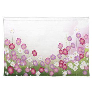 Flores rosadas púrpuras y blancas manteles