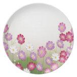 Flores rosadas, púrpuras y blancas platos