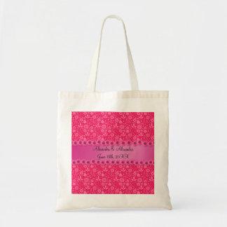 Flores rosadas que casan favores bolsas lienzo