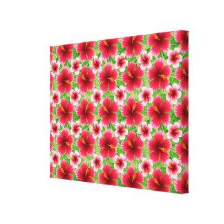 Flores rosadas rojas grandes del hibisco lona envuelta para galerías