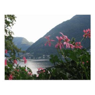 Flores rosadas sobre el lago Como Tarjetas Postales