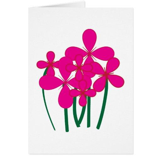 Flores rosadas tarjeta de felicitación