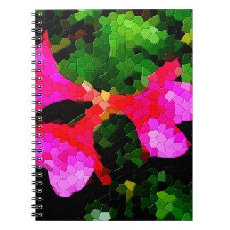 Flores rosadas tejadas de la azalea libro de apuntes con espiral