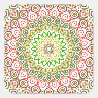 Flores rosadas, verdes, amarillas y anaranjadas pegatina cuadrada