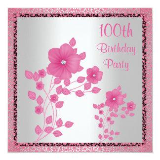 """Flores rosadas y 100a fiesta de cumpleaños del invitación 5.25"""" x 5.25"""""""