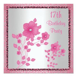 """Flores rosadas y 17ma fiesta de cumpleaños del invitación 5.25"""" x 5.25"""""""