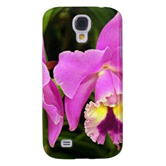 Flores rosadas y amarillas de la orquídea en la fl funda para galaxy s4