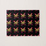 Flores rosadas y amarillas delicadas pintadas en n puzzles con fotos