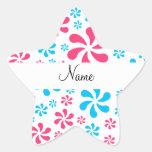 Flores rosadas y azules conocidas personalizadas pegatina forma de estrella