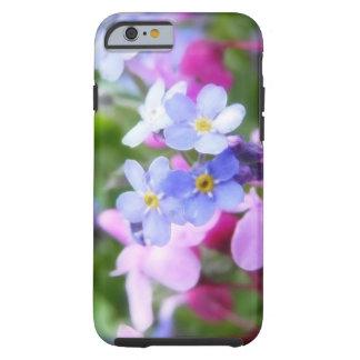Flores rosadas y azules de la primavera funda de iPhone 6 tough