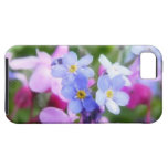 Flores rosadas y azules de la primavera iPhone 5 Case-Mate coberturas