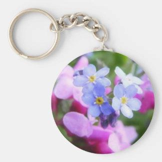 Flores rosadas y azules de la primavera llavero redondo tipo pin