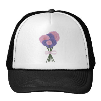 Flores rosadas y azules gorras
