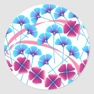 Flores rosadas y azules pegatina