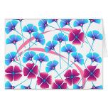 Flores rosadas y azules tarjetas