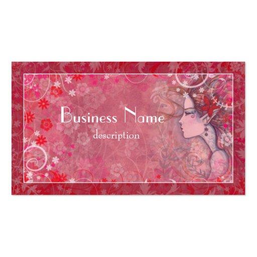 Flores rosadas y blanco con la mujer ilustrada tarjetas de visita