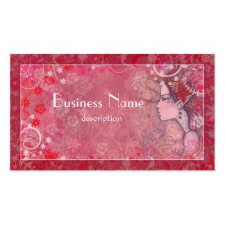 Flores rosadas y blanco con la mujer ilustrada plantillas de tarjetas de visita