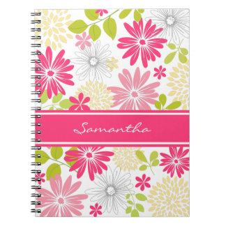 Flores rosadas y cuaderno amarillo personalizado