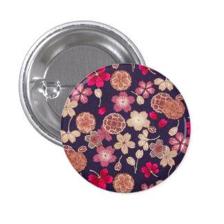 Flores rosadas y del moreno pin redondo 2,5 cm
