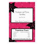 Flores rosadas y negras de la envoltura de las pal tarjetas informativas