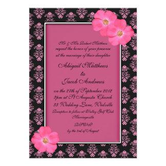Flores rosadas y negras - invitación del boda
