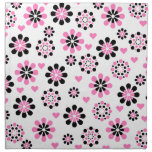 Flores rosadas y negras servilletas imprimidas