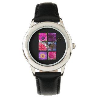 Flores rosadas y púrpuras relojes de mano