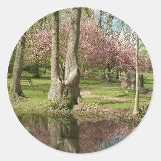 Flores rosadas y reflexión de los árboles etiqueta redonda