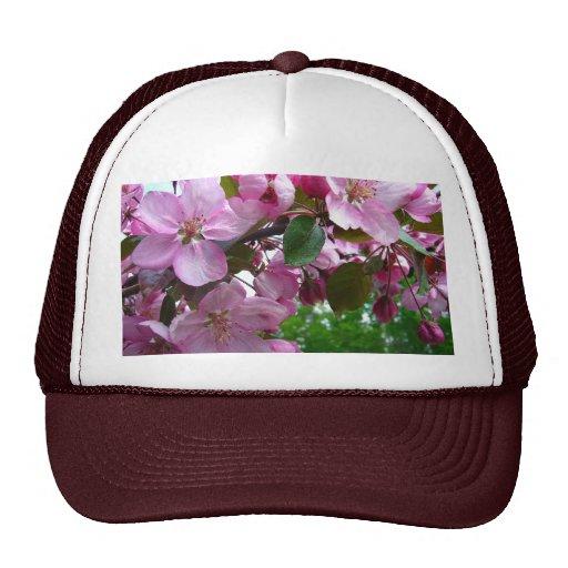 Flores rosados de Apple Gorros Bordados