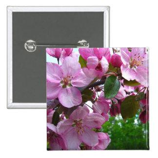 Flores rosados de Apple Pin Cuadrada 5 Cm