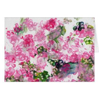 Flores rosados de la pata tarjeta de felicitación