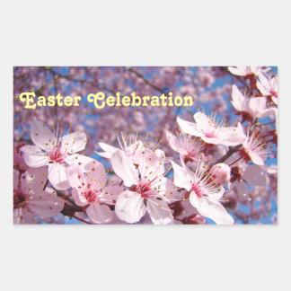 Flores rosados de los sellos de los pegatinas de rectangular pegatina