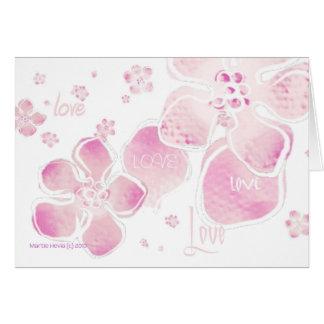 Flores rosados del amor tarjeta de felicitación