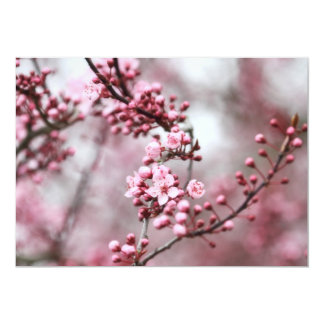 """Flores rosados en foto de la primavera invitación 5"""" x 7"""""""