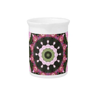 Flores rosados, mandala-estilo floral jarrón