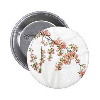 Flores rosados y verdes de Apple Pin Redondo 5 Cm