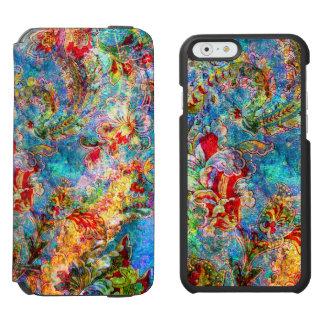 Flores rústicas abstractas coloridas funda billetera para iPhone 6 watson