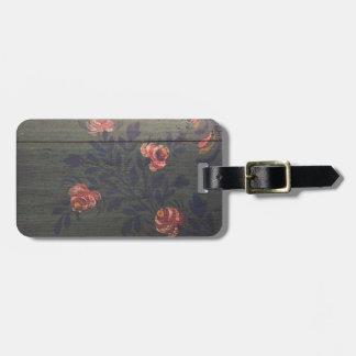 Flores rústicas del vintage etiqueta para maleta
