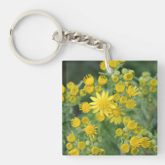 Flores salvajes amarillas llavero cuadrado acrílico a una cara