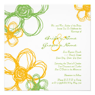 Flores salvajes amarillas y verdes que casan la in invitacion personalizada