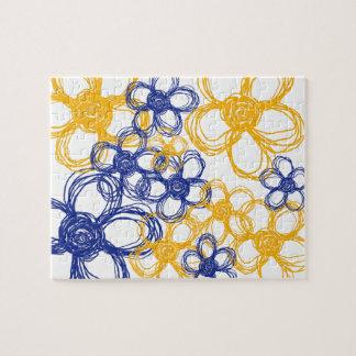 Flores salvajes azules y amarillas puzzle