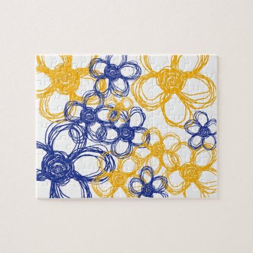 Flores salvajes azules y amarillas puzzles