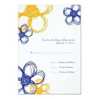 Flores salvajes azules y amarillas que casan RSVP Invitaciones Personalizada
