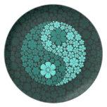Flores salvajes azules Yin Yang del trullo Plato