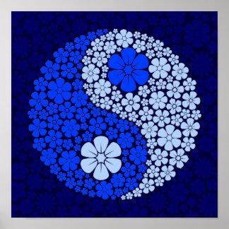 Flores salvajes azules Yin Yang Póster