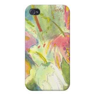 Flores salvajes británicas que pintan diseño flora iPhone 4 cárcasa
