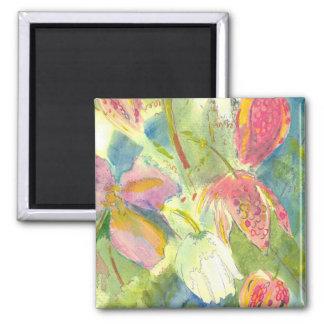 Flores salvajes británicas que pintan diseño flora iman de nevera
