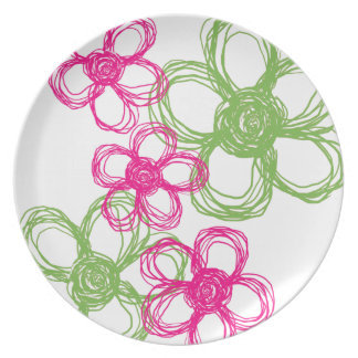 Flores salvajes de la verde lima y de las rosas fu platos de comidas