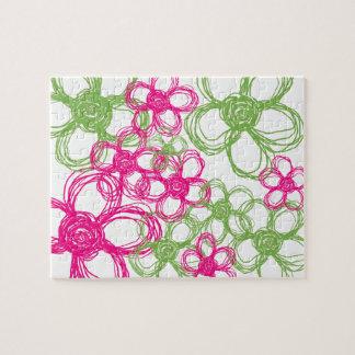 Flores salvajes de la verde lima y de las rosas fu puzzles