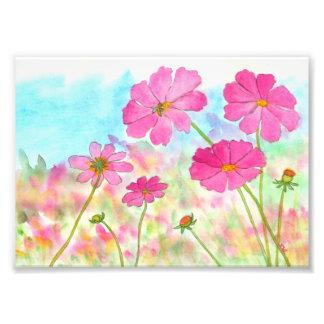 Flores salvajes del arte del cosmos floral cojinete